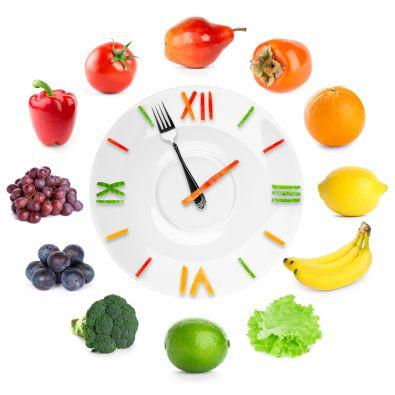 לא מספיק לצרוך פירות, כדאי גם להקפיד מתי. תמונה של שעון ובכל שעה תמונה של ירק/פרי