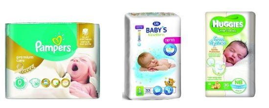 טיטולים לתינוק במידה 0 של האגיס, לייף, ופמפרס, ומגבונים לחים של האגיס