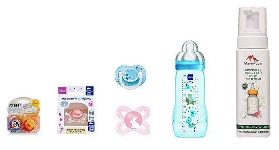 מוצצי סיליקון של לייף, של אוונט, ושל מאמ, בקבוק של מאמ, וסבון טבעי לניקוי בקבוקים