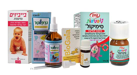תרופות המסייעות לטיפול בתופעה שאותן ניתן לרכוש בבתי מרקחת כמו ביבי זים, סימיקול, גרייפווטר ,ביוגאיה - טיפות פרוביוטיקה לתינוקות.