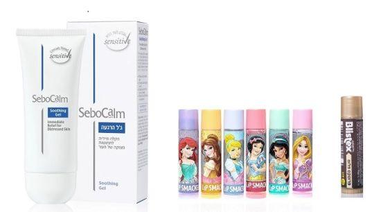ג'ל הרגעה לעור של סבוקלם, שפתון בליסטיקס ושפתוני באלם בטעמים לילדים של ליפסממקר