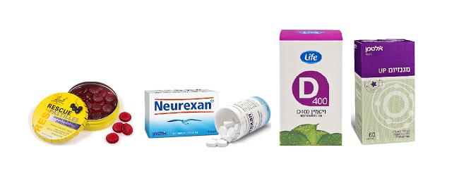 מגנזיום של אלטמן, ויטמין D של life , נרוקסין של אלטמן לשינה רגוע, וסוכריות רסקיו להפגת מתח