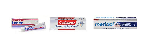 משחות שיניים: מרידול לחניכיים רגישות, קולגייט לשיניים רגישות, lacer ג'ל לרגישות חום וקור