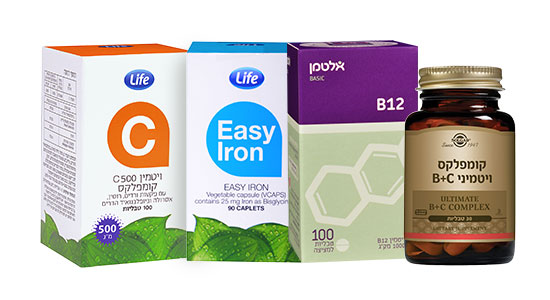אלטמן B12 לייף Easy Iron אלטמן ברזל לייף ויטמין C סולגאר קומפלקס ויטמין B+C