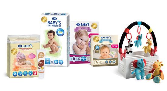 סדרת מוצרי Life Baby's עוזרת לעשות לכם חיים קלים יותר, עם ציון שלב ההתפתחות על חזית כל אחד מהמוצרים.