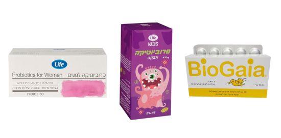 מגוון תוספי פרוביוטיקה לנשים ולילדים של המותגים השונים