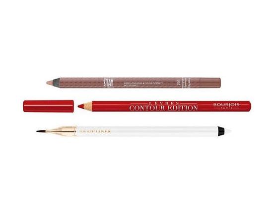 READY TO STAY עפרון שפתיים עמיד של מילוקה, עפרון שפתיים Contour Edition של בורז'ואה, Le Lip Liner עיפרון שפתיים עמיד למים עם מברשת של לנקום