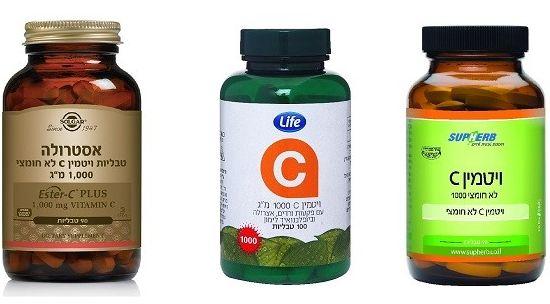 ויטמין C עם פקעות ורדים של לייף, אסטרולה של סולגר, וויטמין C של סופרהרב