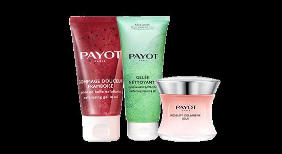 מוצרי PAYOT: מוצרי סדרת הטיפוח רוזליפט ROSELIFT, ג'ל פילינג גרגירים עם תמצית אוכמניות וסבון פנים