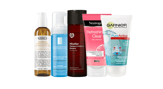 תכשירי ניקוי פנים: לה רוש פוזה, ניוטרוגינה, אקו לאב, קילס, גרנייה.