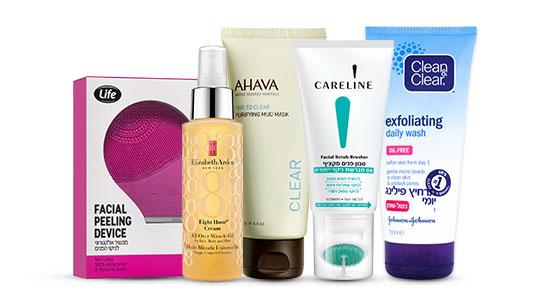 סבון פנים של קלריין, פילינג קלין אנד קליר, מסכת בוץ אהבה, שמן ניקוי, מכשיר אלקטרוני לינקוי פנים