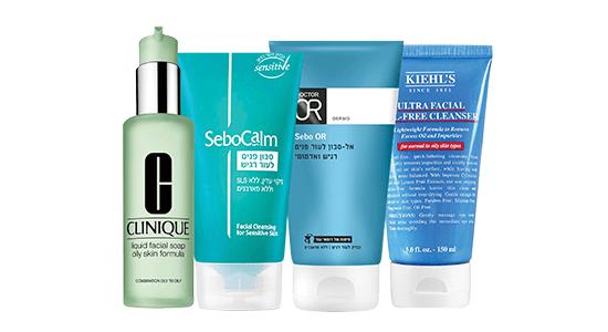 """תכשירים לניקוי העור: קיל'ס, ד""""ר עור, סבוקלם, קליניק."""