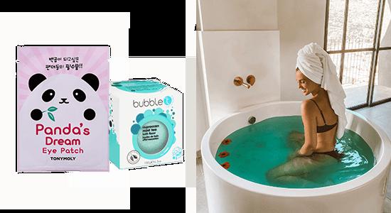ירדן הראל באמבטיה עם פצצת אמבט באבל טי ומסכת עיניים פנדה של טונימולי