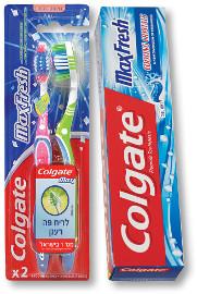 """קולגייט מקס פרש משחת שיניים 100/125 מ""""ל/מברשת שיניים אריזת זוג"""