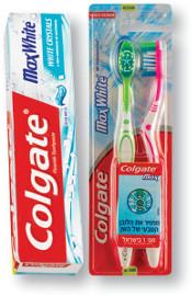 """קולגייט* מקס פרש משחות שיניים 125 מ""""ל/מברשות שיניים אריזת זוג"""