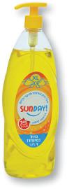 SUNDAY נוזל חזק במיוחד לניקוי כלים 24% חומרים פעילים בניחוח לימון