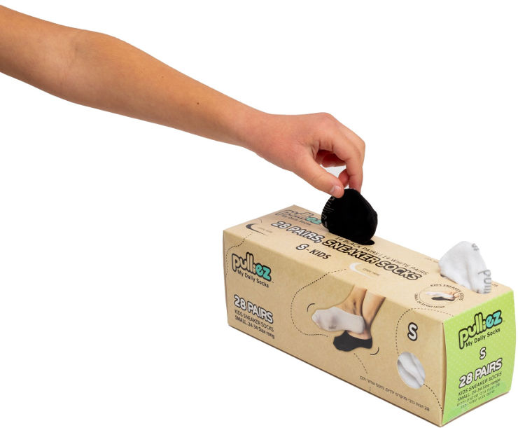 קופסת 28 זוגות גרבי סניקרס לבנות או בנים שחור + לבן