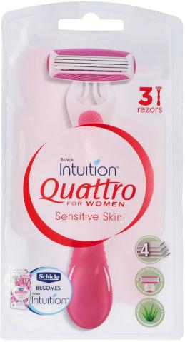 קוואטרו סכיני גילוח חד פעמיים לנשים