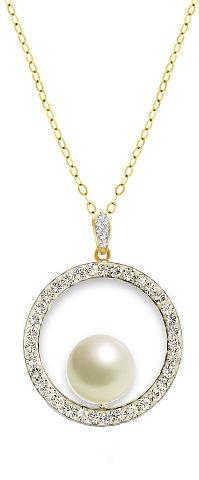 שרשרת חישוק עשויה מכסף בציפוי זהב ומשובצת פנינה מרכזית