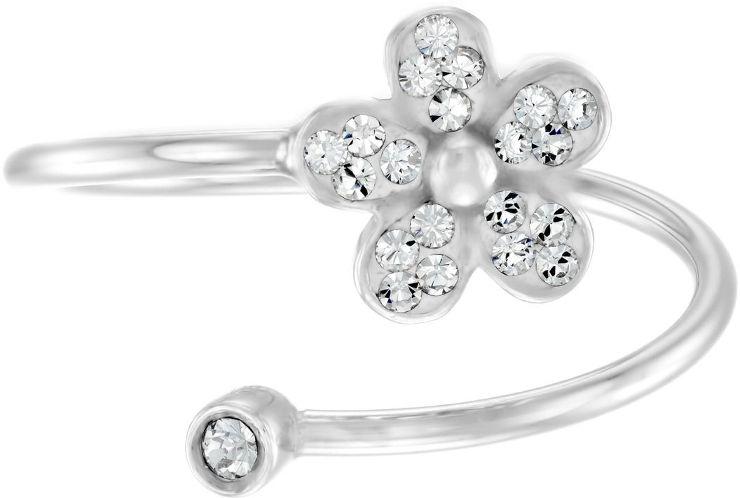 טבעת פרח מכסף בציפוי רודיום ומשובצים קריסטלים