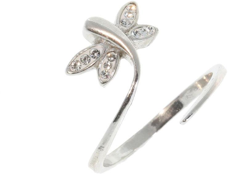 טבעת פרפר מכסף בציפוי רודיום ומשובצים קריסטלים