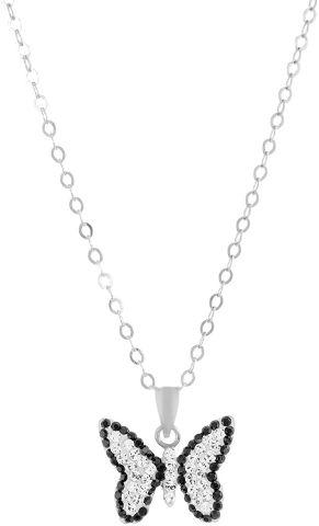 שרשרת פרפר עשויה מכסף בציפוי רודיום ומשובצת קריסטלים לבנים ושחורים