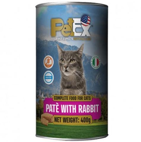 שימורי מזון מלא לחתולים במרקם פטה עם בשר ארנב ללא דגנים וללא גלוטן