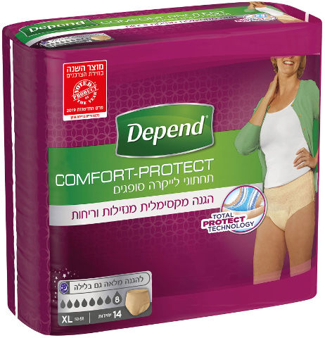 Comfort-Protect תחתוני לייקרה סופגים לבריחת שתן, נשים XL, מגה פק