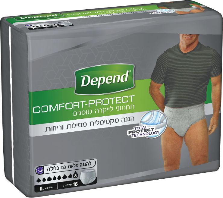 Comfort-Protect תחתוני לייקרה סופגים לבריחת שתן, גברים L, מגה פק