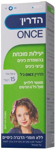 ONCE ג'ל משמיד כינים וביצי כינים לשיער קצר עד בינוני