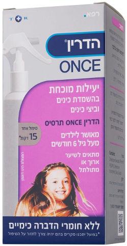 ONCE תרסיס משמיד כינים וביצי כינים לשיער ארוך ו/או מתולתל