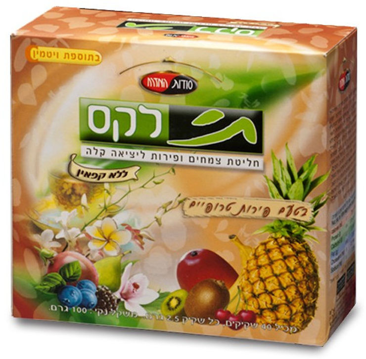 תי לקס חליטת צמחים ופירות ליציאה קלה ללא קפאין בטעם פירות טרופיים