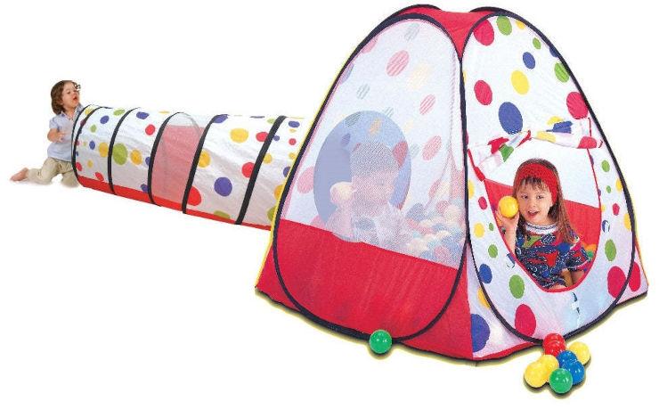 אוהל בקופסא עם 100 כדורים+מנהרה