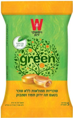סוכריות ממלואות ללא סוכר בטעם תה ירוק תפוז וסמבוק