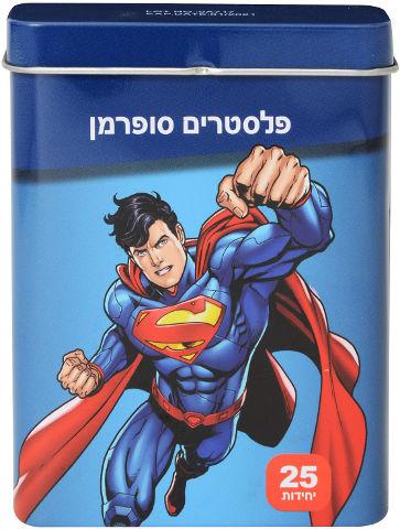 פלסטרים באריזת מתכת בעיצוב סופרמן