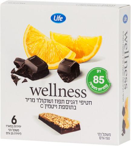 Wellness חטיפי דגנים תפוז ושוקולד מריר בתוספת ויטמין C