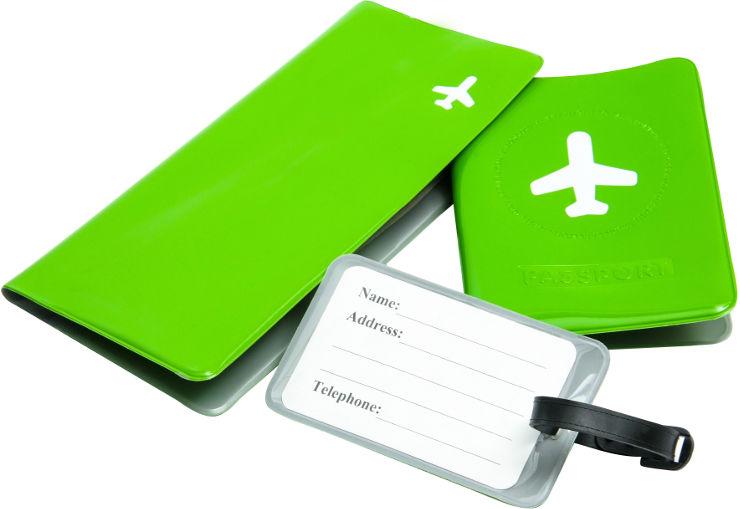 מארז נסיעות - תג מזוודה, כיסוי דרכון, תיק מסמכים