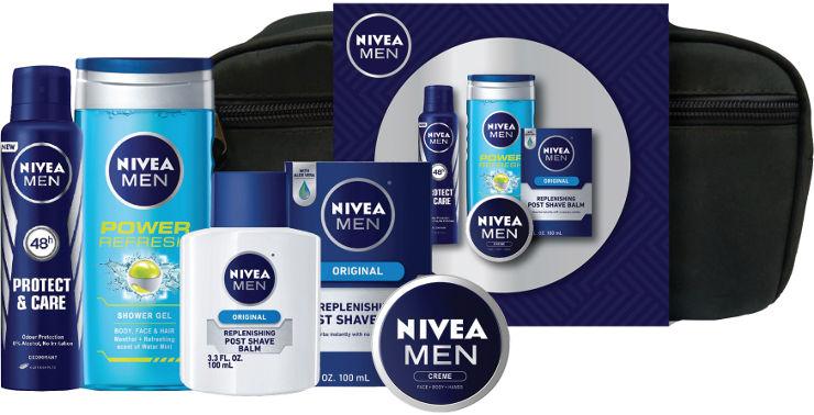 תיק טיפוח לגבר המכיל: אפטר שייב לאחר גילוח + ג'ל רחצה לגבר + קרם רב שימושי לגבר + דאודרנט ספריי לגבר