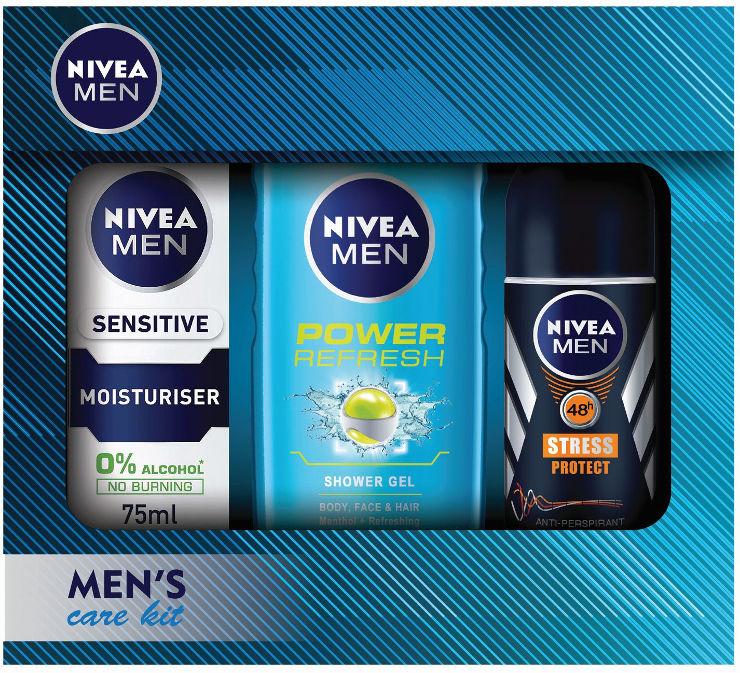 מארז לגבר המכיל: ג'ל רחצה פאוור ריפרש + קרם לחות לעור רגיש + דאודורנט רול און סטרס פרוטקט