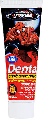 DENTAL משחת שיניים לילדים בתוספת תמצית אלוורה בטעם מסטיק לגילאי 6 ומעלה - ספיידרמן