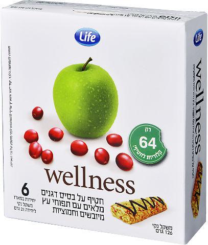 Wellness חטיף על בסיס דגנים מלאים עם תפוחי עץ מיובשים וחמוציות