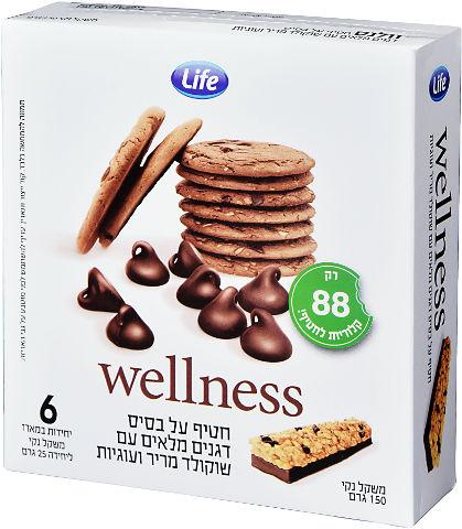 Wellness חטיף על בסיס דגנים מלאים עם שוקולד מריר ועוגיות