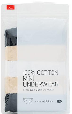 תחתוני נשים 100% כותנה גזרת מיני L אפור/לבן/שחור