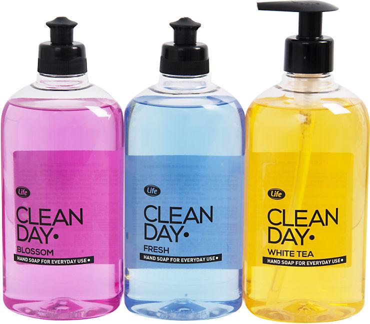 סבון נוזלי לידיים קלין דיי-מעורב-צהוב סגול ורוד
