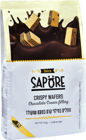 קוביות וופלים במילוי קרם בטעם שוקולד