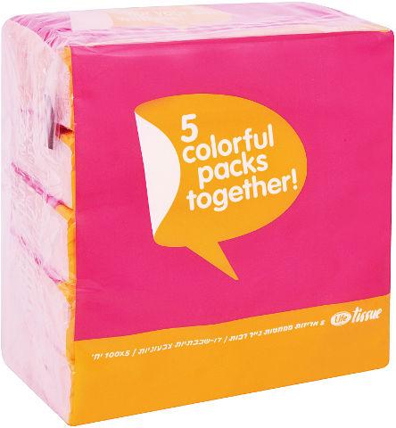 ממחטות נייר רכות טישו דו שכבתי - צבעוני