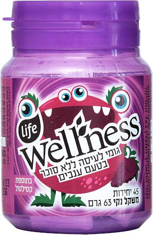 Wellness גומי לעיסה ללא סוכר בתוספת סידן וויטמין C בטעם ענבים