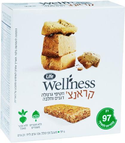 Wellness קראנצ' חטיפי גרנולה דגנים וחלבה