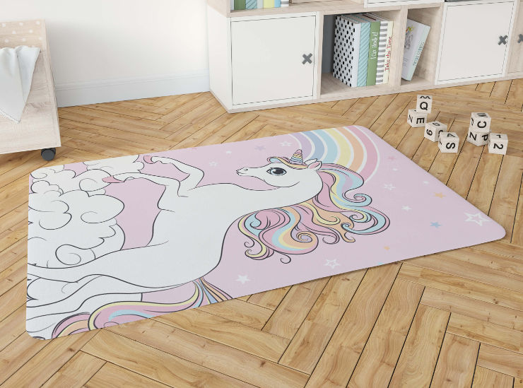 שטיח פלנל לחדר ילדים דגם חד קרן