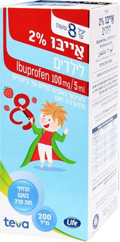אייבו 2% לילדים, לשיכוך כאבים קלים עד בינוניים ולהורדת חום